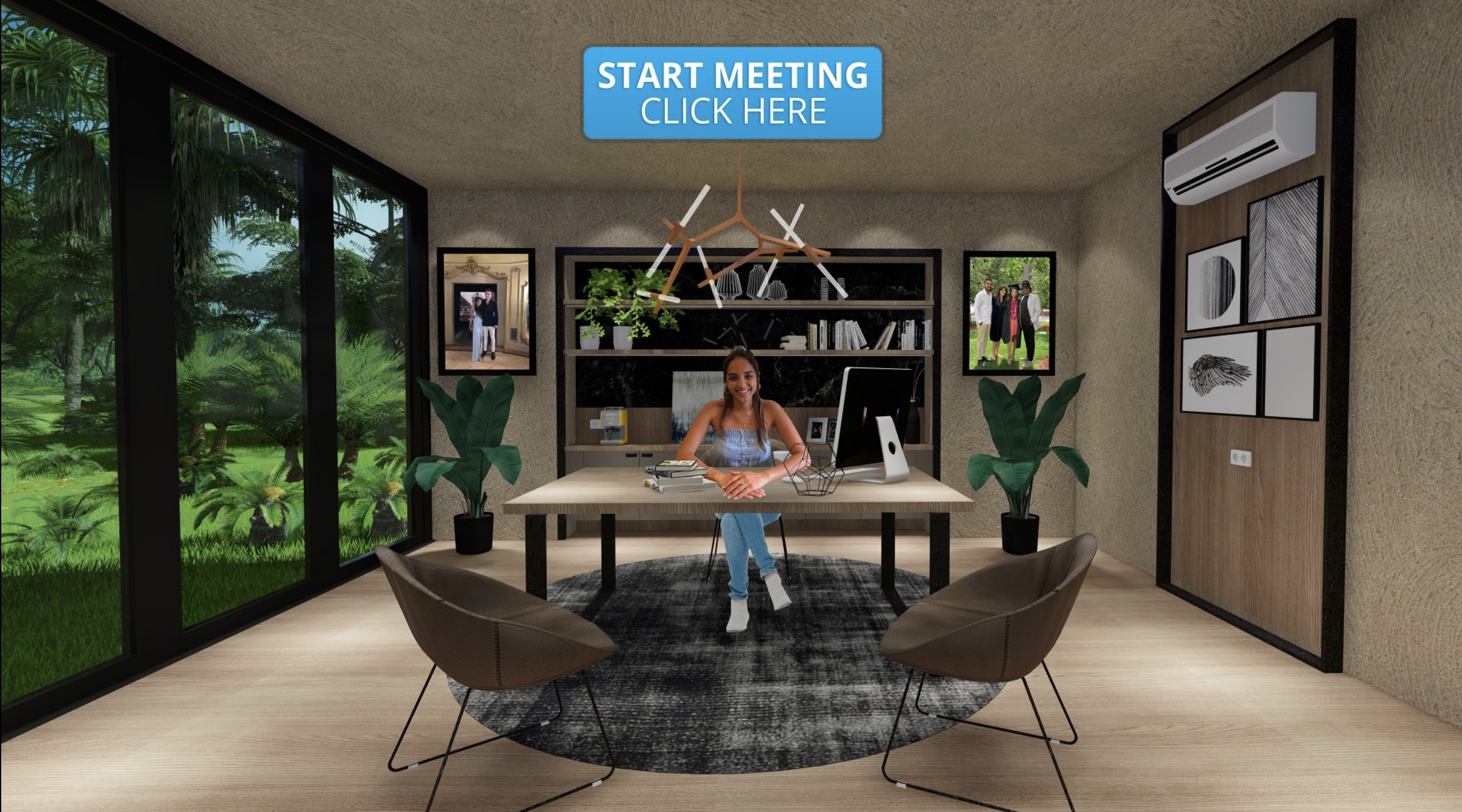 Woman in a virtual office