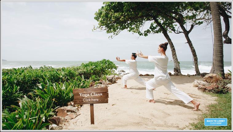 Virtual yoga class on the beach