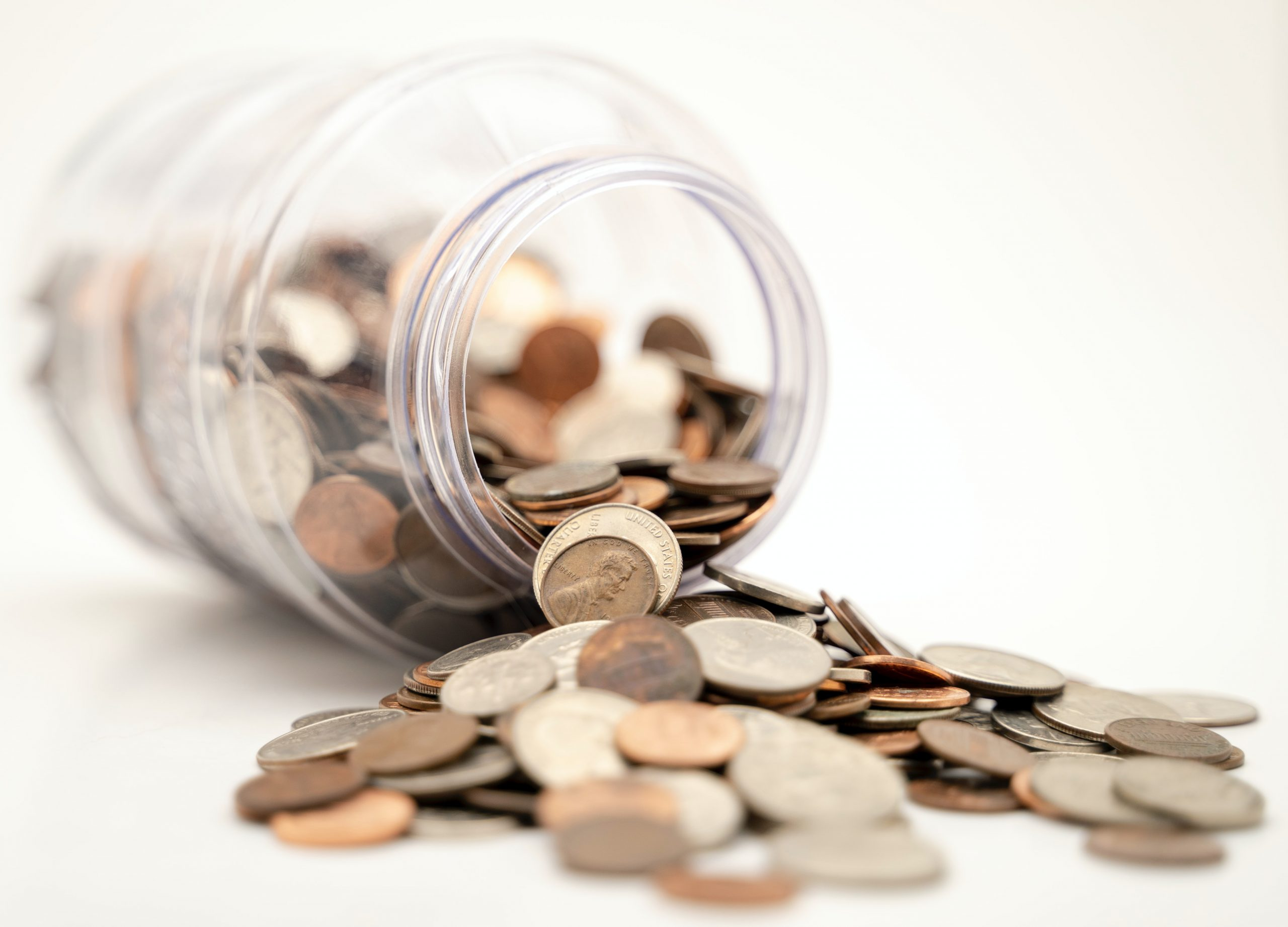 money falling out of a jar