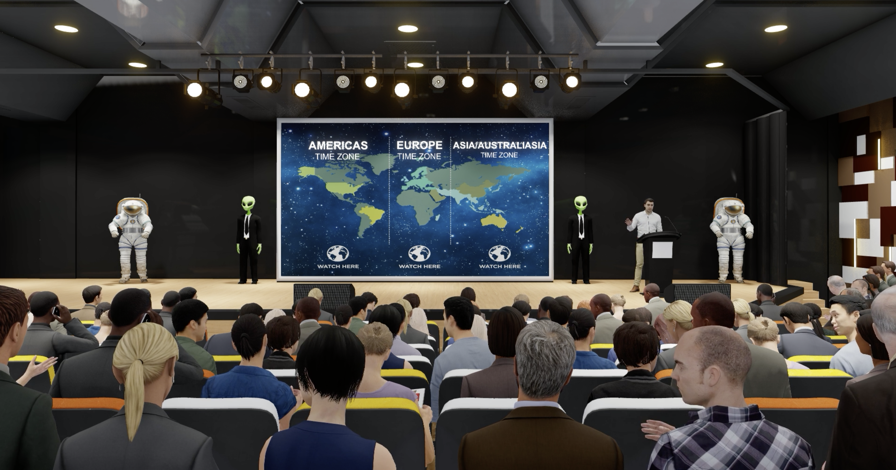 GVAS virtual conference with space theme and audience