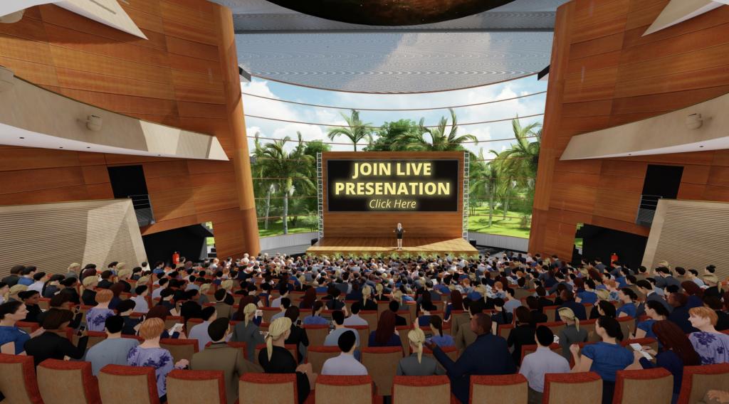 Virtual presentation with full auditorium