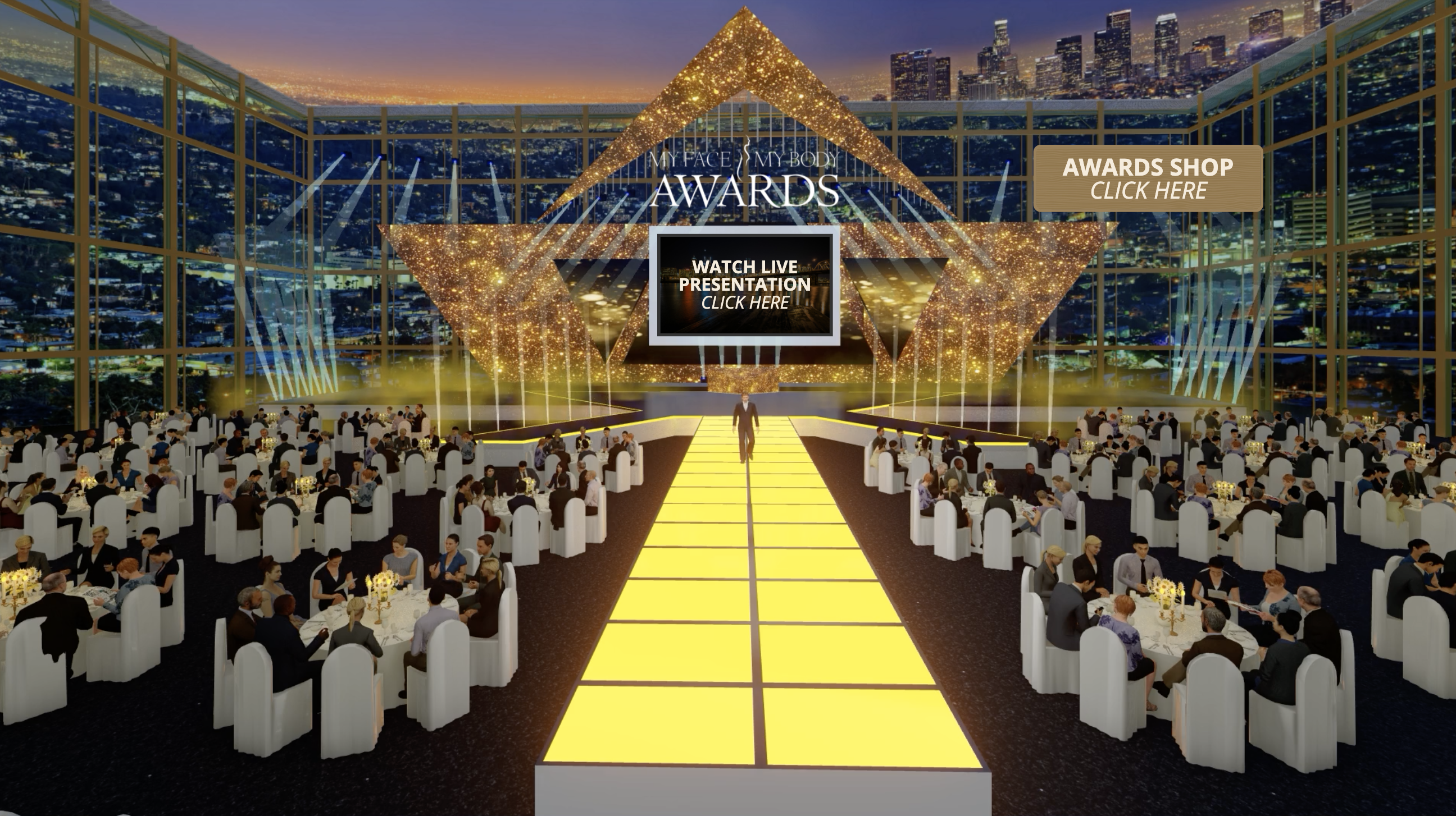 Virtual awards show with a stage and tables