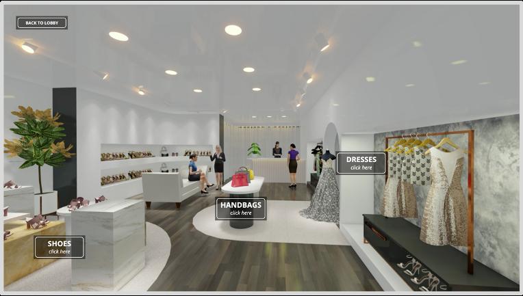 Virtual merchandising room for shopping