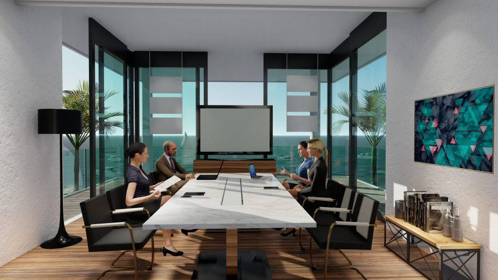 Conference room for virtual meetings